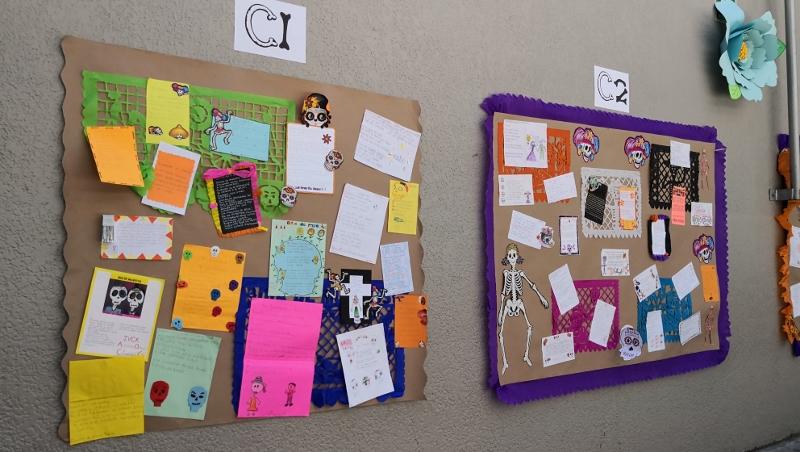 Calaveras elaboradas por alumnos del nivel primaria