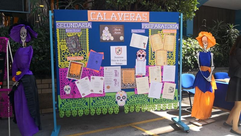Calaveras elaboradas por alumnos de los niveles de Secundaria y Preparatoria